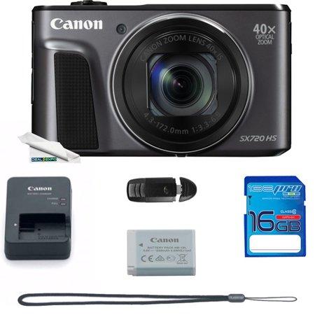 Canon PowerShot SX720 HS Digital Camera (Black) + Deal-Expo Essential Accessories Bundle