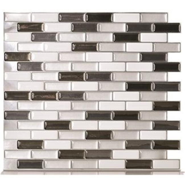 Inc SM1030-1 Murano Adhesive Decorative Wall Tile, Metallik Pack Of 8