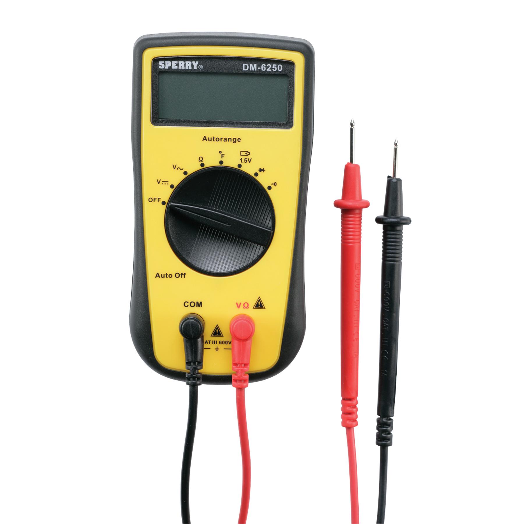 Sperry Instruments DM6250 Digital Multimeter, 7 Function, 19 Auto Range includes AC/DC Voltage, Resistance, Continuity, Diode, Battery, Temp Probe