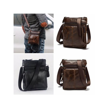 Men's Casual Vintage Business Leather Shoulder Bag Laptop Messenger Handbag Chest Bag ()