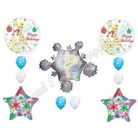 TINKERBELL SNOWFLAKES CHRISTMAS PARTY Balloons Decoration Supplies Holidays - Tinkerbell Christmas Cards