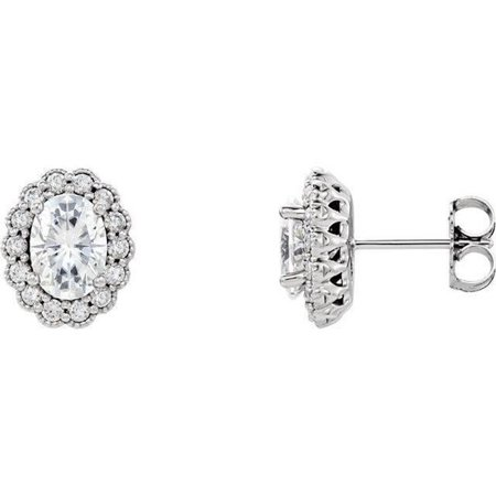 Harry Chad Enterprises 31505 4.00 CT Oval & Round Cut Diamond Studs Earrings - 14K Gold White - image 1 of 1