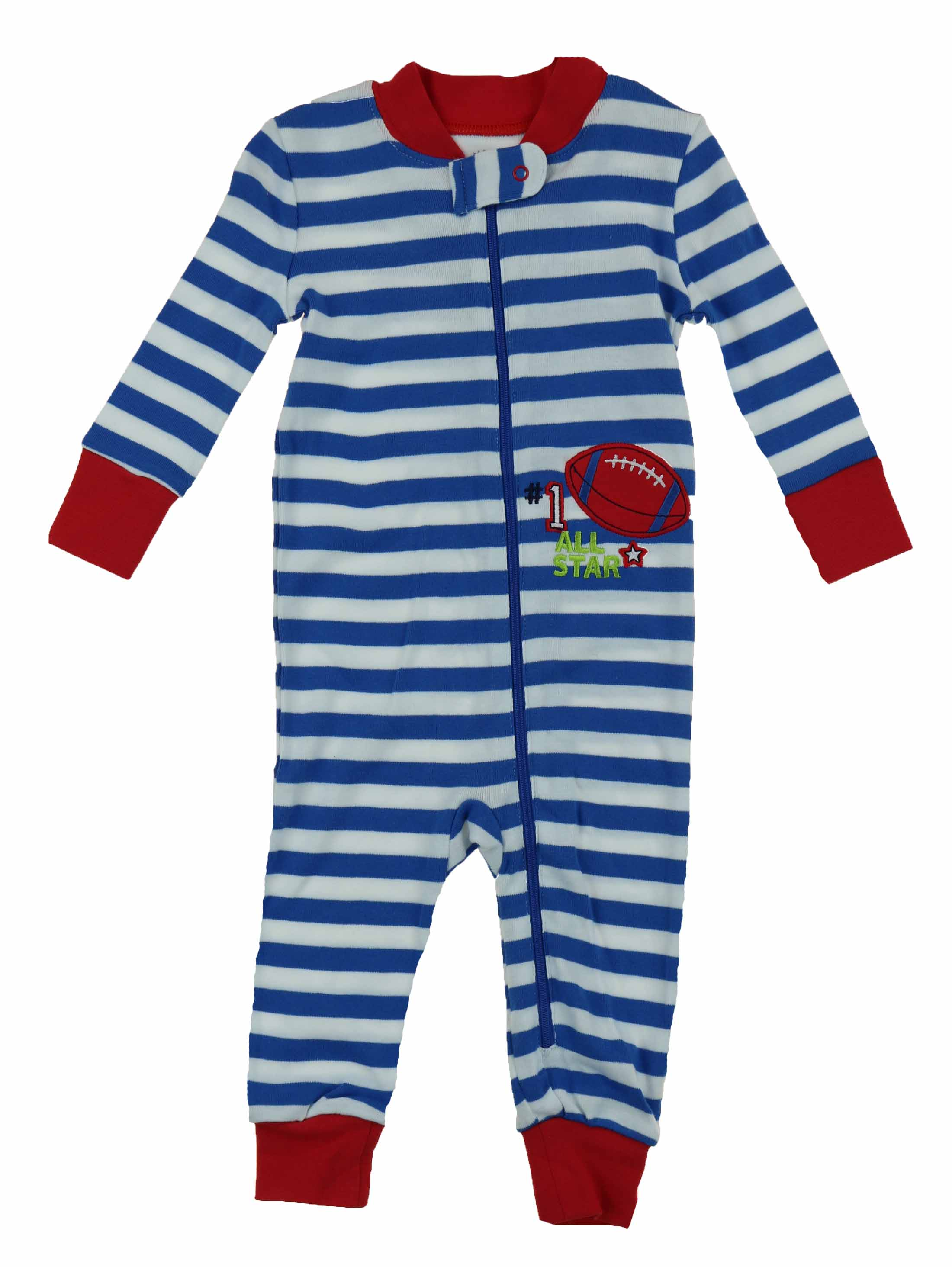 Little Me Boys 1 Piece Long Sleep Sleeper Full Zip or Snap Footie Pajama (12M, (02)Blue/White Stripe)