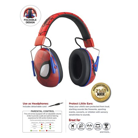 Spiderman Kids Ear Protectors Earmuffs and Headphones 2 in 1 Noise Reduction and Headphones for Kids Ultra Lightweight