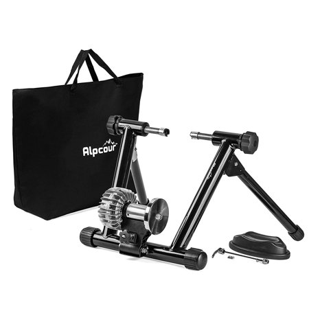 Alpcour Fluid Bike Trainer Stand - Portable Stainless Steel Indoor Trainer w/Fluid Flywheel, Noise Reduction, Progressive Resistance, Dual-Lock System - Stationary Exercise for Road & Mountain Bikes
