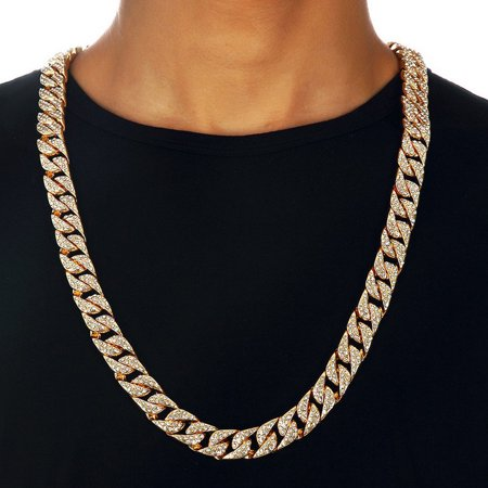"TekDeals Hip Hop Men Quavo Gold PT Iced Out 15mm 16"" Miami Cuban Choker Chain Necklace"