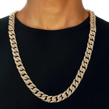 TekDeals Hip Hop Men Quavo Gold PT Iced Out 15mm 16