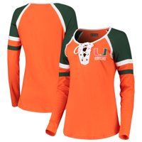 Miami Hurricanes 5th & Ocean by New Era Women's Lace-Up Raglan Long Sleeve T-Shirt - Orange