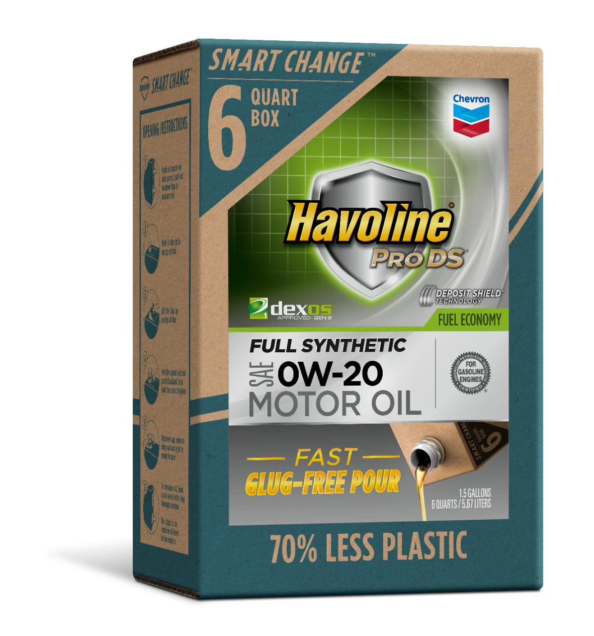 Havoline SMART CHANGE® ProDS 0W-20 Full Synthetic Motor Oil, 6 qt.