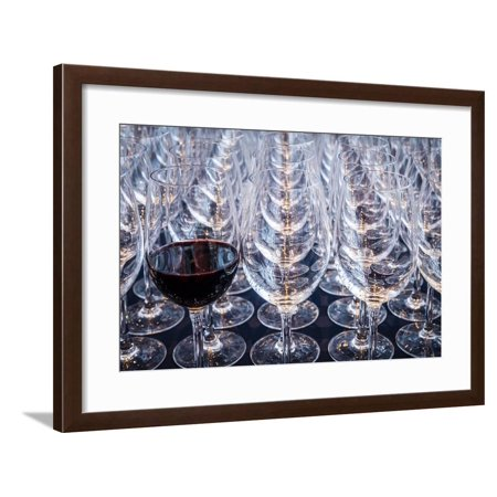 USA, Washington State, Seattle. Red wine in row of glasses. Framed Print Wall Art By Richard Duval
