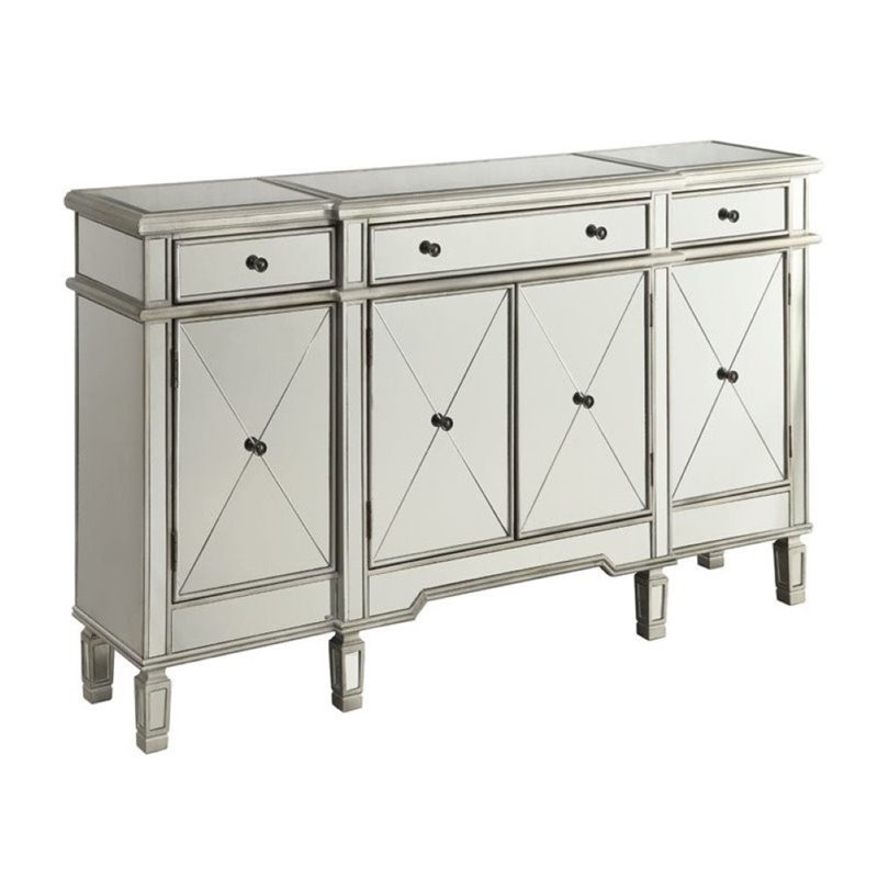 Bowery Hill Mirrored Wine Rack Sideboard in Silver
