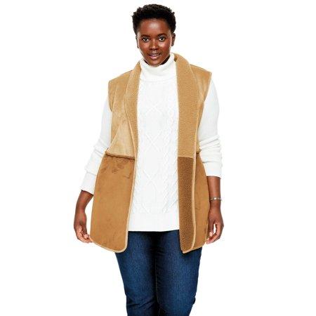 Woman Within Plus Size Reversible Faux Sherpa Vest](Venus Plus Size)