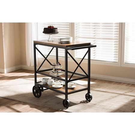 Excellent Baxton Studio Chester Rustic Industrial Style Oak Brown Finished Wood And Black Finished Metal Console Table Mobile Serving Cart Machost Co Dining Chair Design Ideas Machostcouk