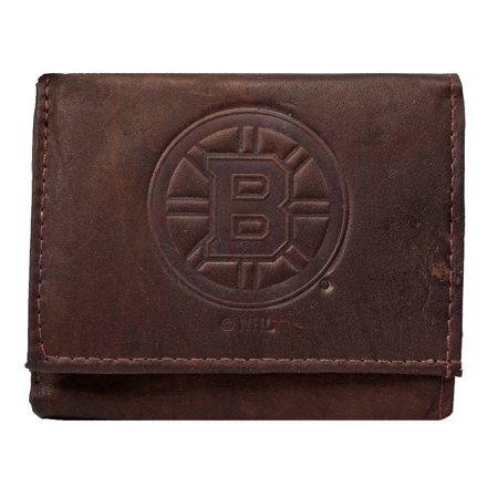 (Boston Bruins NHL Embossed Logo Dark Brown Leather Trifold Wallet)