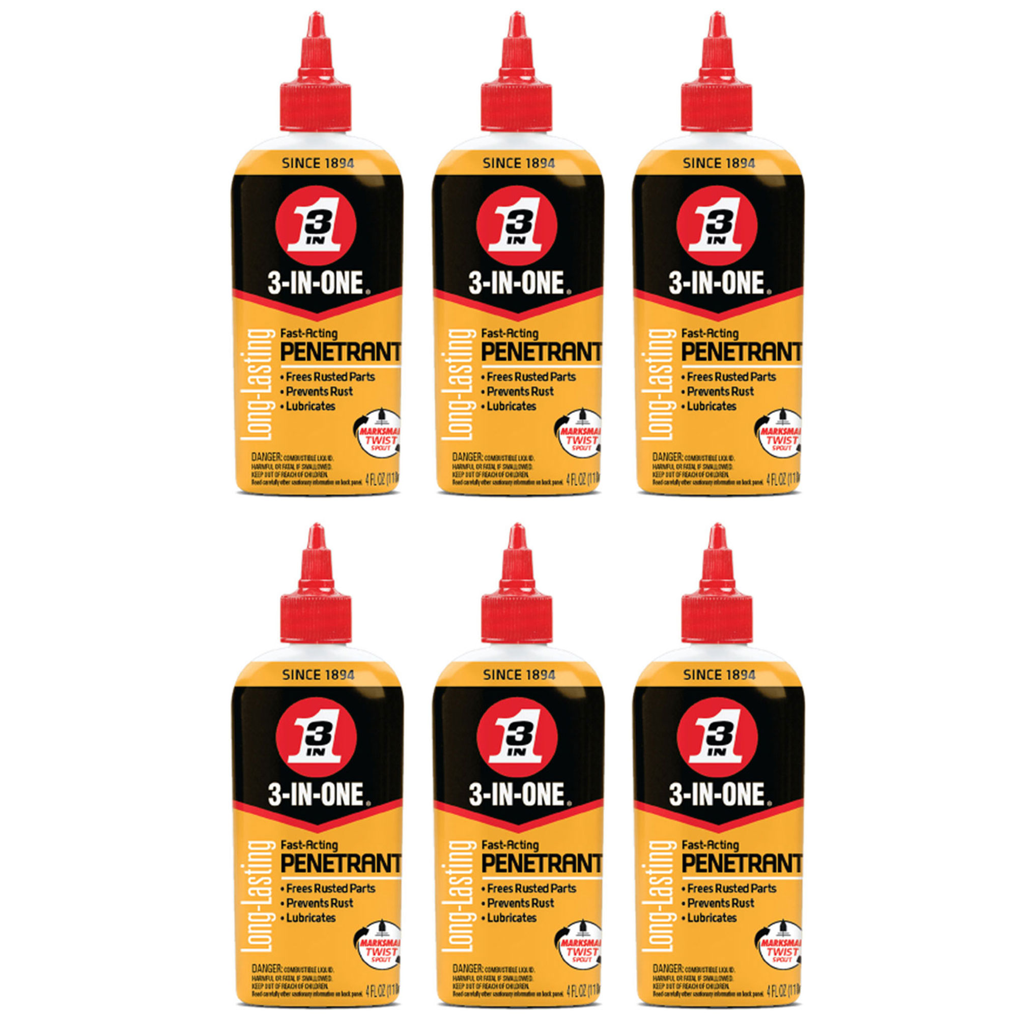 3-IN-ONE 120015 Penetrant Drip Oil to Loosen and Stop Rust, 4 Ounces (6 Pack)