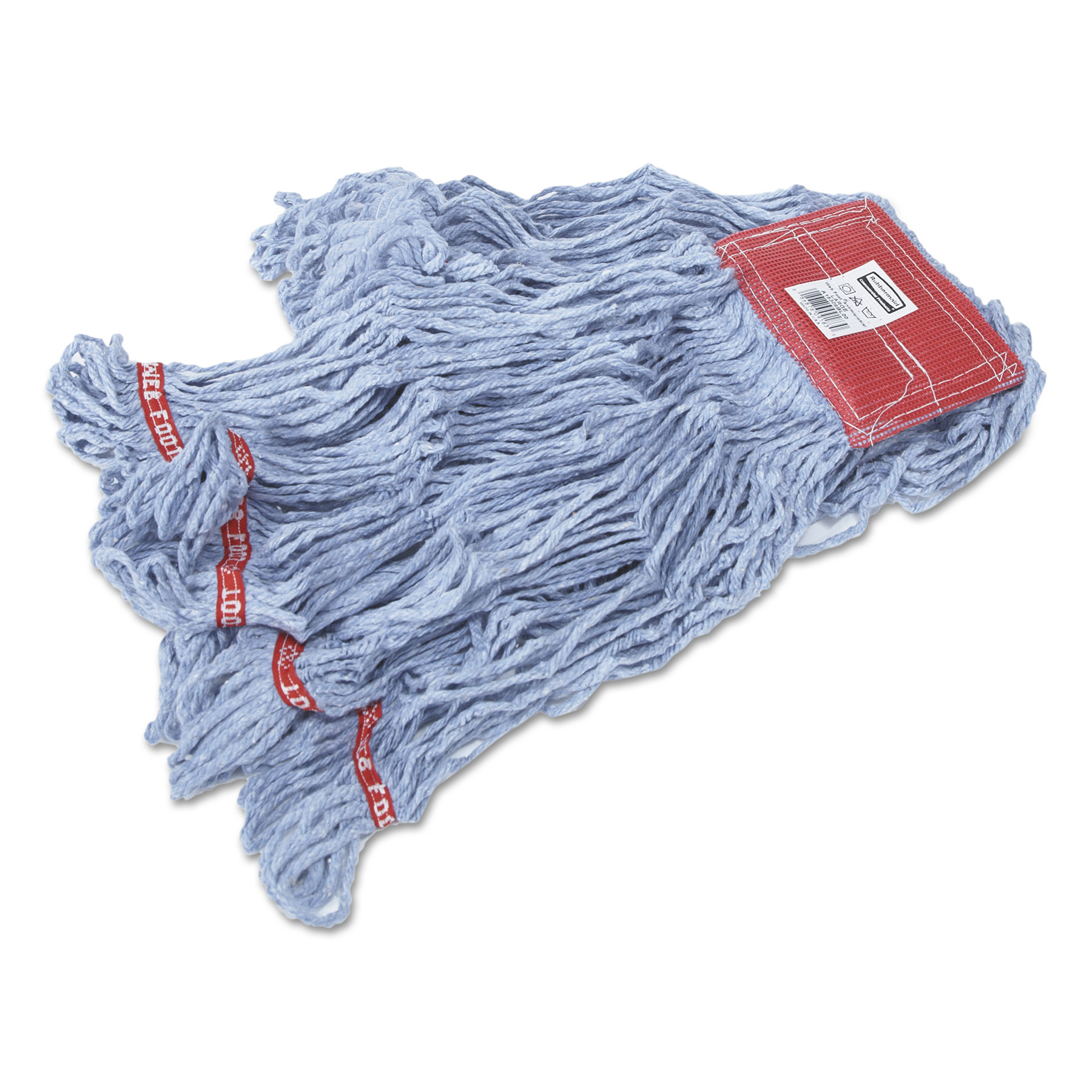Rubbermaid Commercial Web Foot Wet Mops, Cotton/Synthetic, Blue, Large, 5-in. Red Headband, 6/Carton
