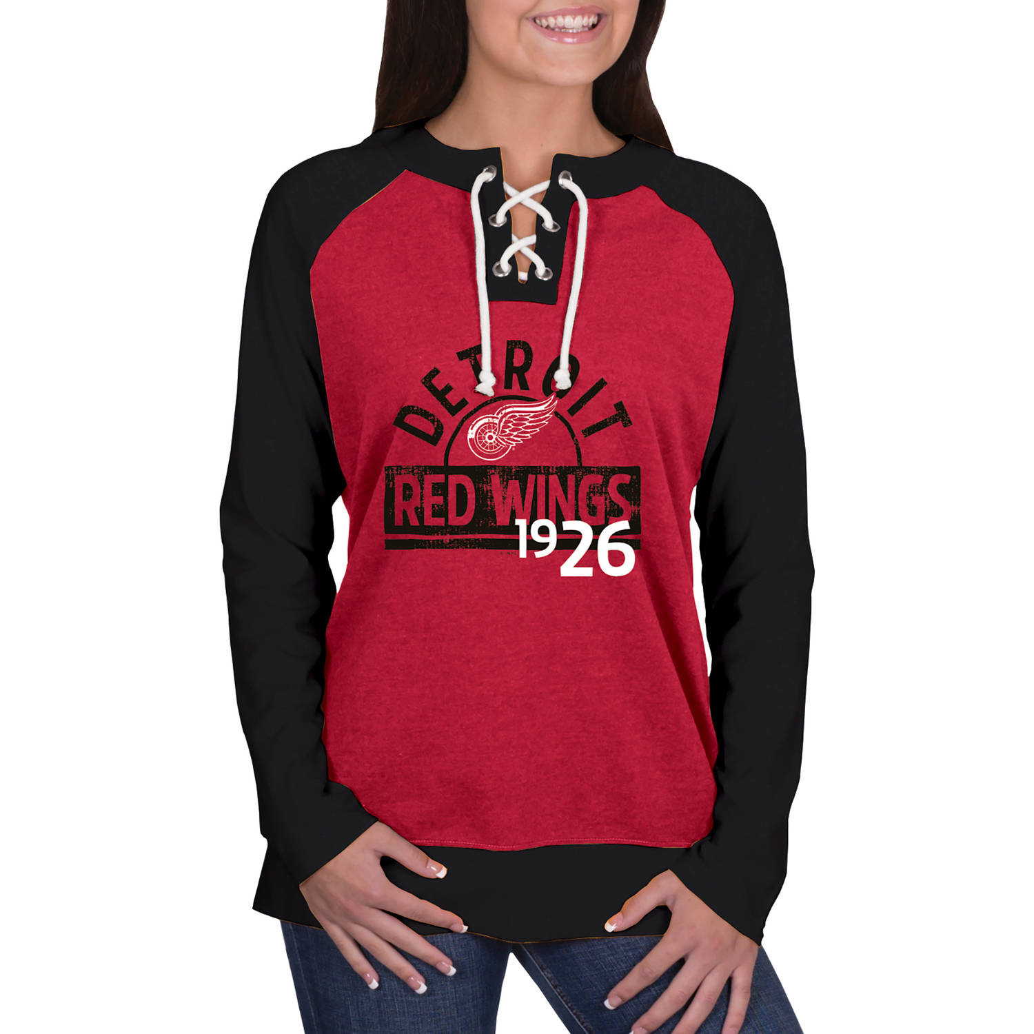 NHL Detroit Red Wings Ladies Fashion Long Sleeve Lace-Up Jersey