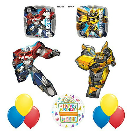 Transformers 11pc Birthday Party Decorations Mylar Balloon Bouquet Set - Transformers Birthday