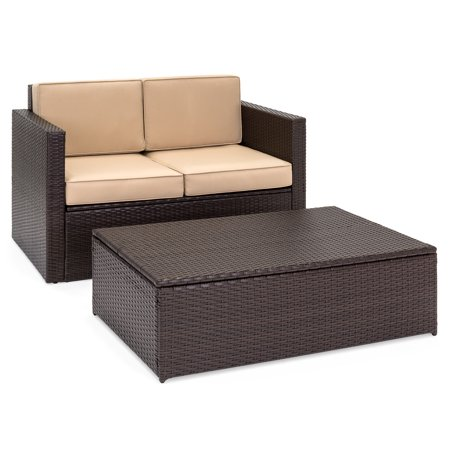 Best Choice Products 2-Piece Wicker Backyard Patio Conversation Furniture Set with 2 Hidden Storage Compartments in Loveseat & Coffee Table, Cushions, Brown ()