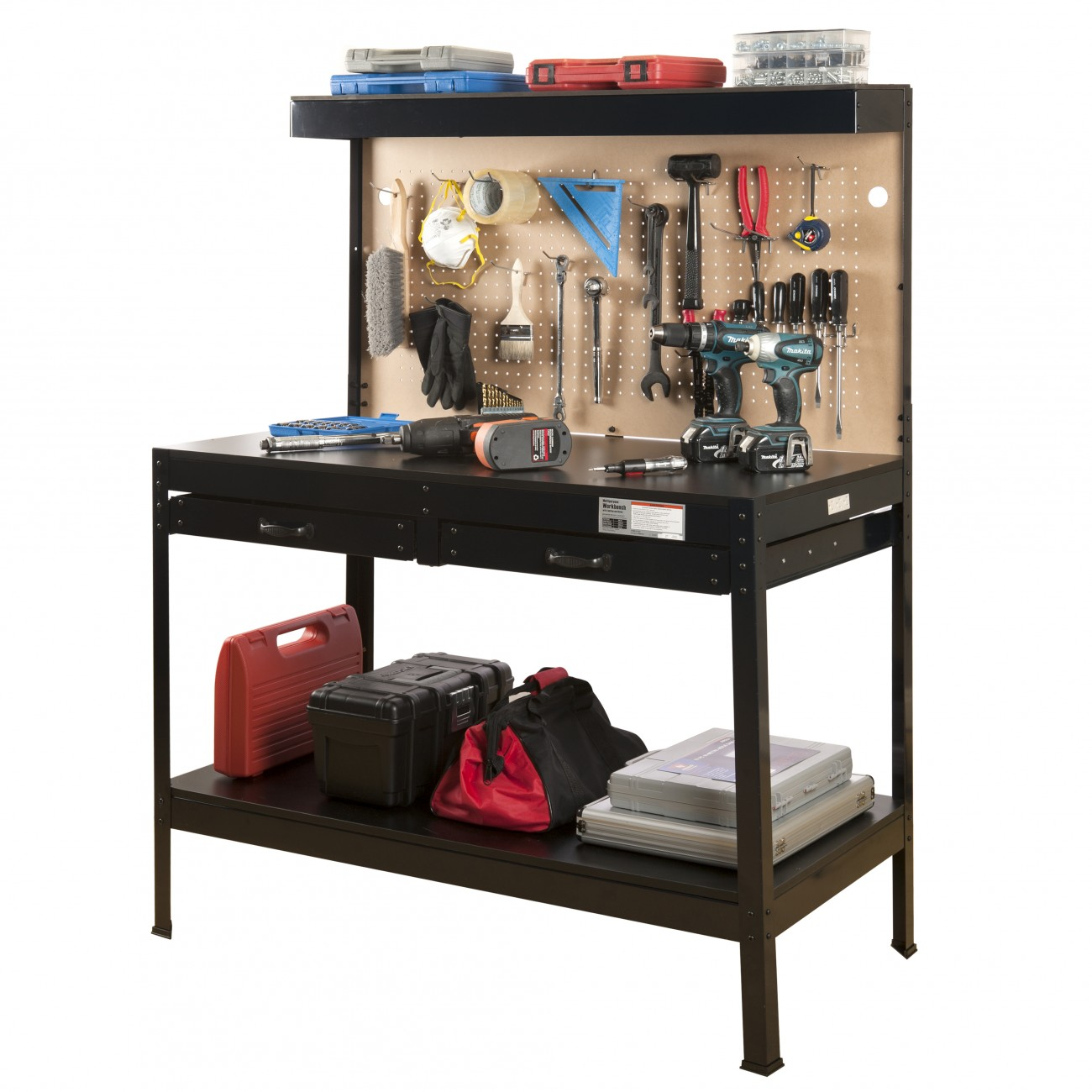 Hiltex Steel Garage Workbench | Multi-purpose LED Cabinet Lighting Power Socket Drawers