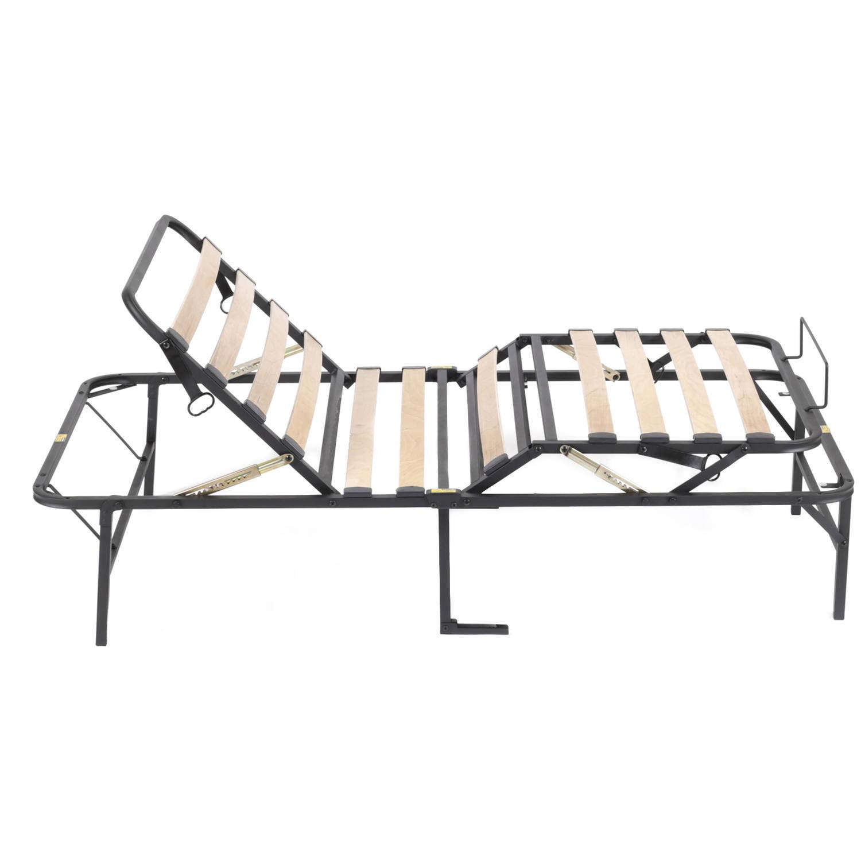 pragmabed simple adjust head and foot wood slat manually adjustable foundation walmartcom - Adjustable Twin Bed Frame