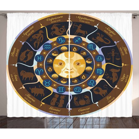 Astrology Curtains 2 Panels Set  Aries Taurus Gemini Cancer Leo Virgo Libra Scorpio Horoscope Signs  Window Drapes For Living Room Bedroom  108W X 63L Inches  Brown Yellow And Blue  By Ambesonne