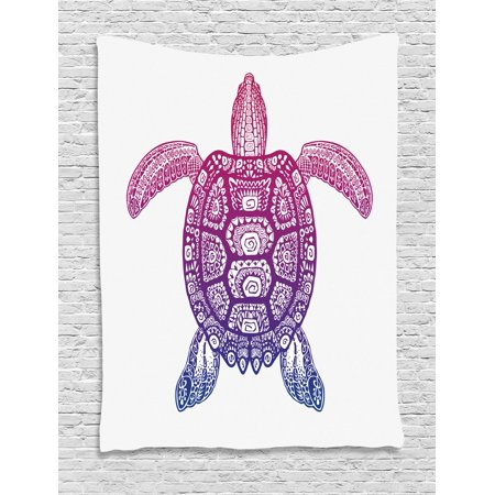 Turtle Tapestry, Tribal Totem Animal Ethnic Motifs Vortex Circle and Triangle Shapes on the Shell, Wall Hanging for Bedroom Living Room Dorm Decor, 40W X 60L Inches, Purple Magenta, by Ambesonne - Tribal Totem