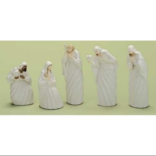 5pc Good Tidings Holy Family & Wise Men Porcelain Christmas Nativity Figure Set