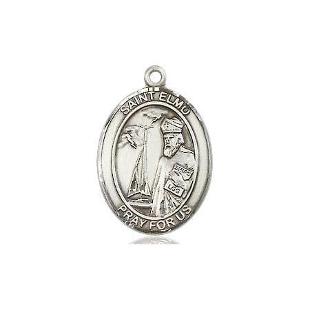 St. Elmo Patron Saint Medal Pendant in Sterling Silver ()