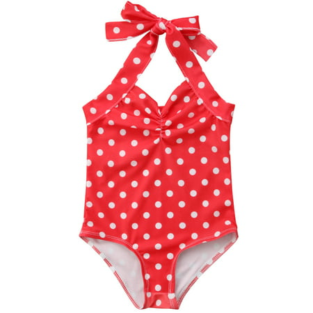 fb2b19561d Gaono - Infant Toddler Baby Girls Halterneck Polka Dot One Piece Bikini  Beach Bathing Suit - Walmart.com