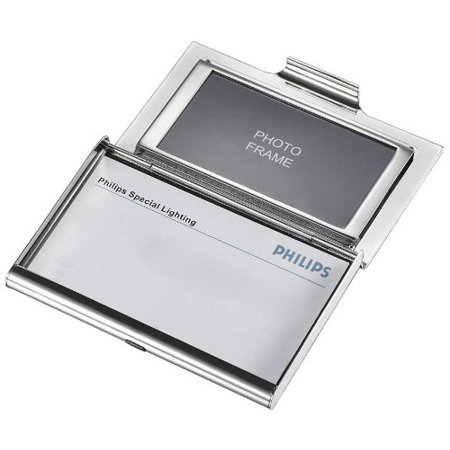 Visol Products Athena Mirror Finish Business Card Holder with Built-In Photo Frame