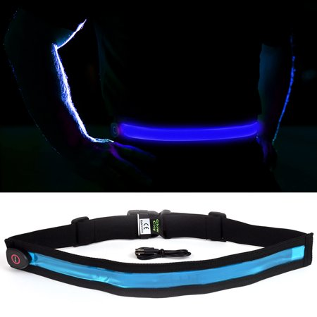 GlowCity Bright LED Light Night Safety Belt Perfect for Outdoor Cycling Running - Blue