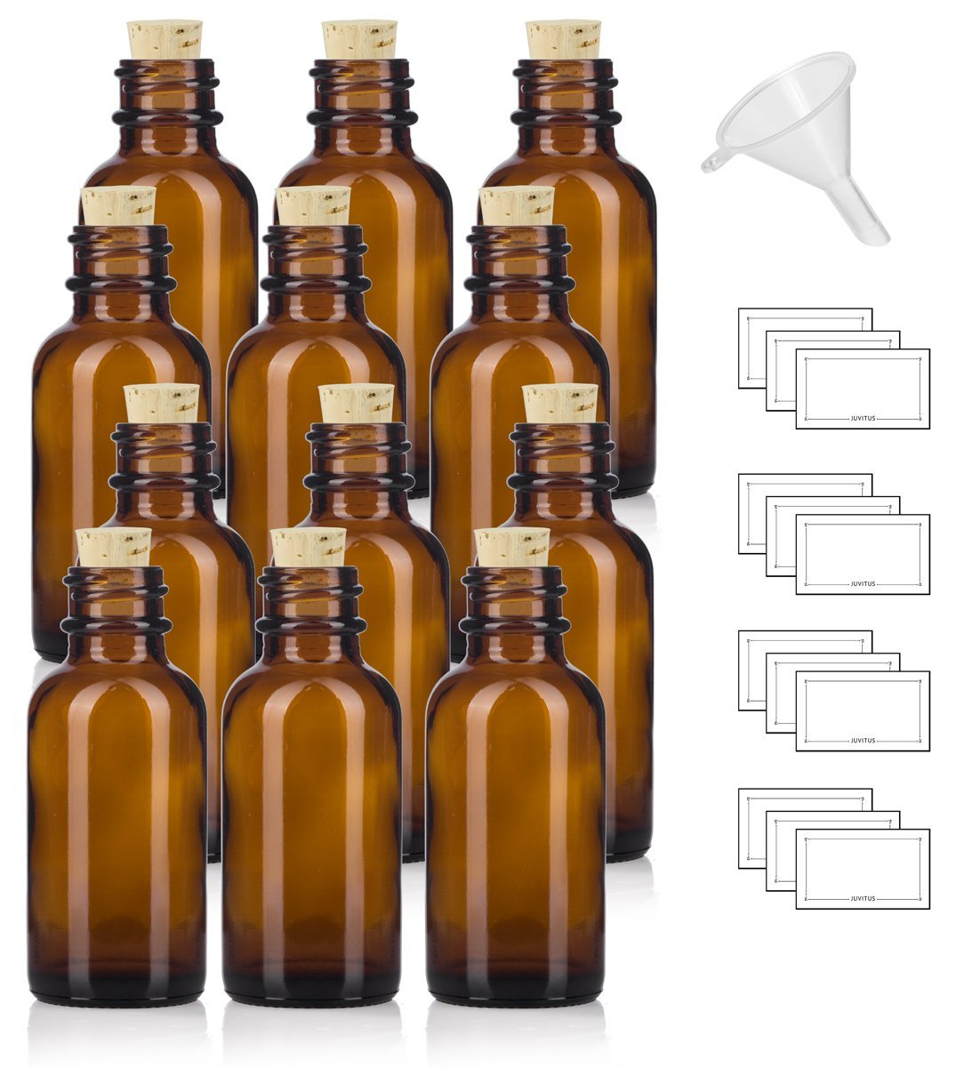 1 oz Amber Glass Boston Round Bottle with Cork Stopper Closure (12 Pack) + Funnel and Labels