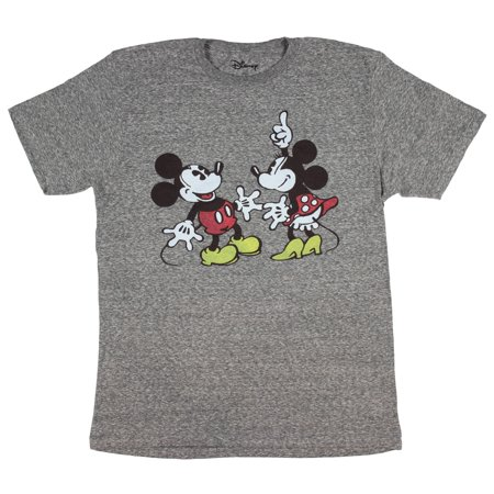 Disney Mickey And Minnie Mouse Heather Grey Men's Cartoon Character T-Shirt SM Minnie Mouse Cartoons