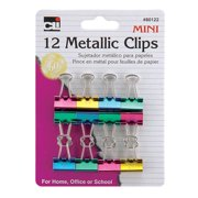 Charles Leonard Inc 80122 Charles Leonard Inc 80122 Mini Metallic Binder Clips Assorted Colors 12 Count