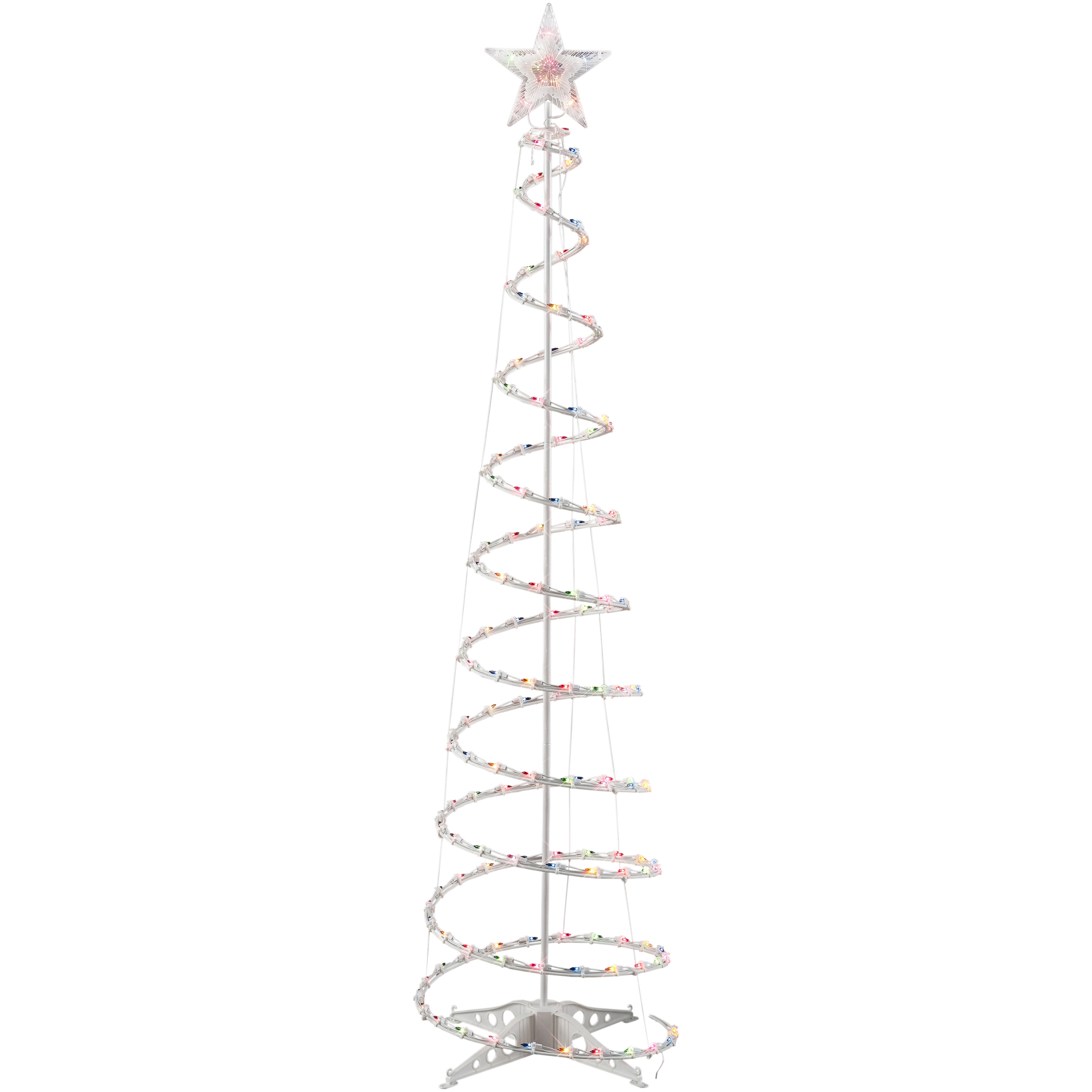 Holiday Time 6-Foot Light-Up Spiral Tree, Multicolor, 150 Lights, Indoor or Outdoor Use