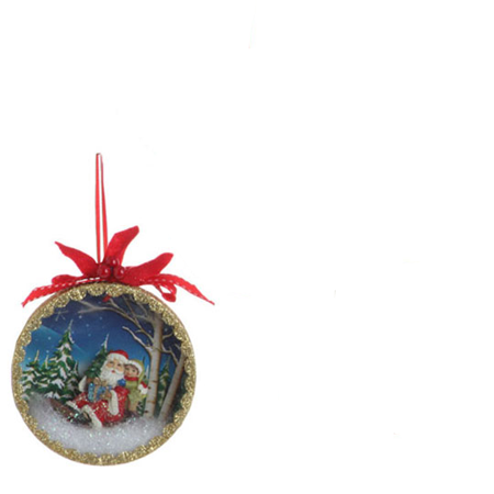 5 Santa Claus Classics Sled Winter Scene Shadow Box Christmas Tree Ornament