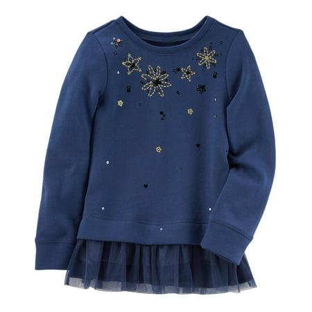 OshKosh B'gosh Little Girls' Glitter Peplum Top, 4 Kids - Girls Glitter Toms
