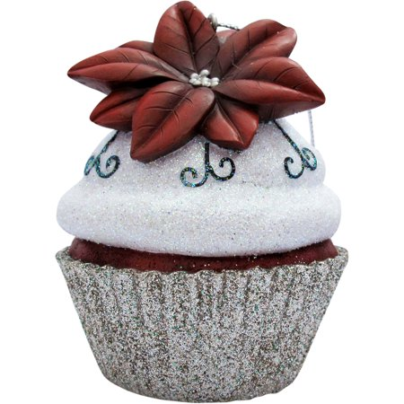 - Silver Poinsettia Cupcake Christmas Tree Ornament