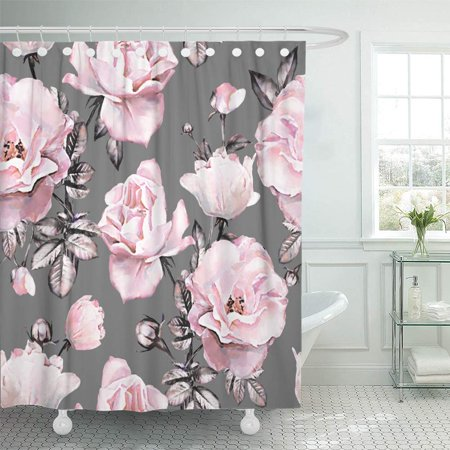 Rope Bath Accessories (KSADK Abstract with Pink Flowers and Leaves On Gray Watercolor Floral Rose in Pastel Color Shower Curtain Bath Curtain 66x72)