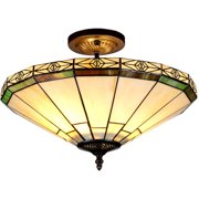 """Chloe Lighting Belle Tiffany-Style 2-Light Mission Semi-Flush Ceiling Fixture with 16"""" Shade"""