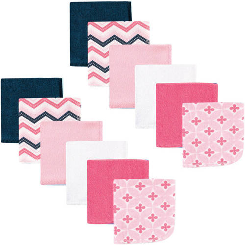 Luvable Friends Baby Washcloths, Pink Chevron, 12 Pack