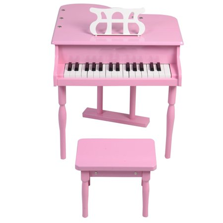 GHP Kids Pink 30-Keys MDF Board Grand Baby Piano Toy with Wood Bench & Music Holder House Of Troy Piano Lamp