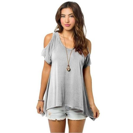 68bd457e2687c Sawpy - Sexy Summer Tops Short Sleeves for Womens Off Shoulder Pullover  Casual Loose T-Shirt Blouse - Walmart.com