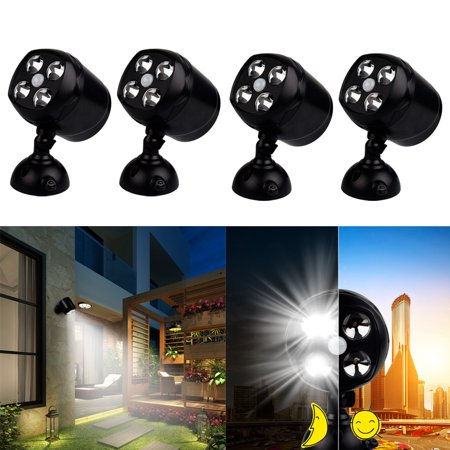 1 4 Pack Outdoor Motion Light Sensor Spotlight Wireless Battery Operated Weatherproof Wall Lighting For Patio Garden Garage