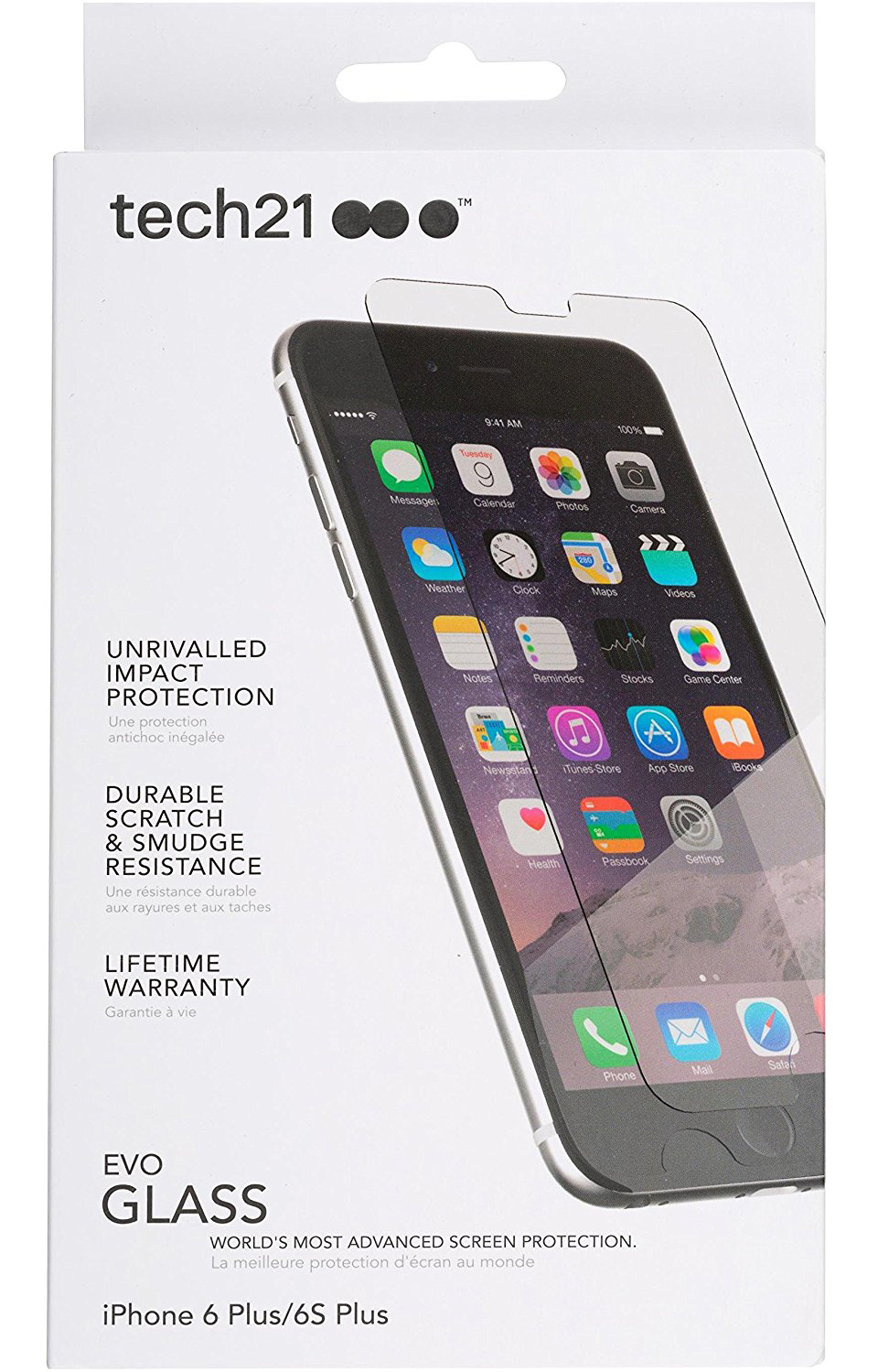 purchase cheap 4ef81 0edaa TECH21 EVO GLASS HARD 9H TEMPERED GLASS SCREEN GUARD PROTECTOR FOR iPHONE 6  PLUS