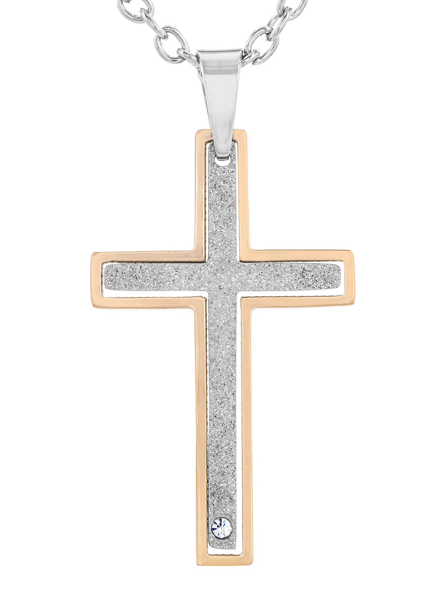 Stainless Steel Two Piece Two Tone With Cubic Zirconia Cross Pendant