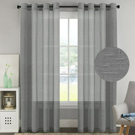 H Versailtex Natural Linen Poly Mixed Semi Sheer Grey Curtains Energy Saving Nickel Grommet Window Curtain Panels For Bedroom Set Of 2 52x96 Inch