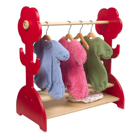 Doll's Flower Clothing Rack, in Red Keep dolly's wardrobe neat and tidy with our unique Dolls' Clothing Rack. Hang dozens of dolly outfits above, and stow shoes and other accessories on the two wide shelves below. Made in the USA from beautiful Baltic Birch plywood. Adult assembly required. Sorry, gift wrap not available. . The Combi Doll Furniture Collection includes Cradle, Bedding Set, Chair, and Flower Clothing Rack. Available Finishes Natural oil finish Red stain. Sizes Clothing Rack 18  x 19  x 8