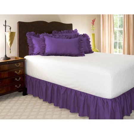 Harmony Lane Ruffled Bed Skirt 21 Inch Drop Full Grape Poly Cotton Dust Ruffle With Platform